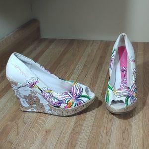 Ed Hardy Floral Cork Heels 9